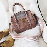 2018 Women Wide Shoulder Straps Casual Solid PU Leather Crossbody Bags Fashion Bag - Beltran's Enterprise