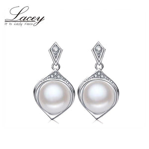 LACEY Wedding Pearl Earrings,Trendy  White Natural Pearl Earrings 925 sterling Silver - Beltran's Enterprise
