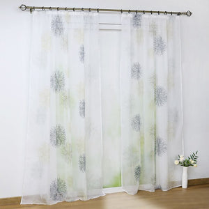 Pastoral Floral Tab Top Tulle Curtain European Grommet Window Treatment for Living Room - Beltran's Enterprise