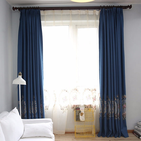 Green/Blue Thick Embroidered Velvet Curtains for Living Room Elegant Window - Beltran's Enterprise