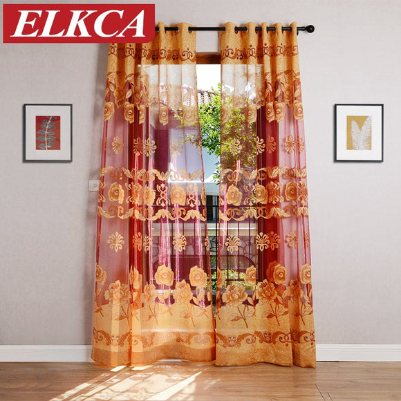 Red Coffee/Yellow Flower Burnout Tulle Curtains for Living Room European Sheer - Beltran's Enterprise