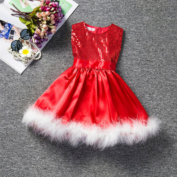 Sequins Christmas Dress 2018 Fashion Girl Kids Party Wear Dresses For Girls Princess Dress - Beltran's Enterprise