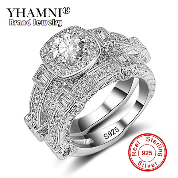 YHAMNI Fashion Jewelry Original Solid 925 Silver 2PCS Ring Set for Women Micro Inlay Cubic Zirconia - Beltran's Enterprise