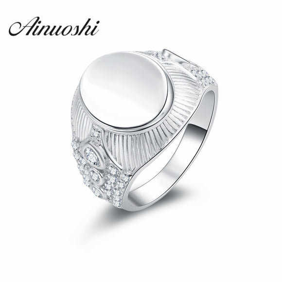 AINUOSHI Free Shipping 925 Sterling Silver Ring Fine Fashion Plain Oval Shaped Ring Men - Beltran's Enterprise