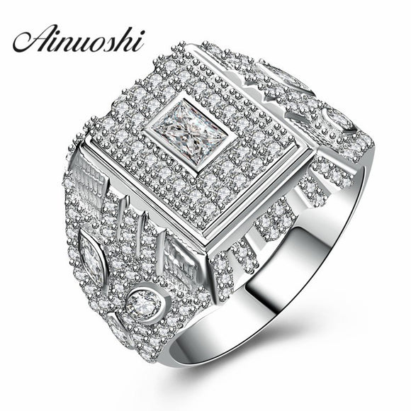 AINUOSHI New Victory Trendy Men 925 Sterling Silver Ring Man Setting Wedding - Beltran's Enterprise