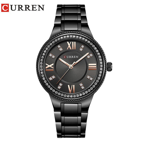CURREN Top Luxury Brand Women Quartz Watch Crystal Design Ladies wristwatches - Beltran's Enterprise