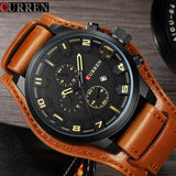 Curren Mens Watches Top Brand Luxury Brown Leather Strap Quartz Watch Men - Beltran's Enterprise
