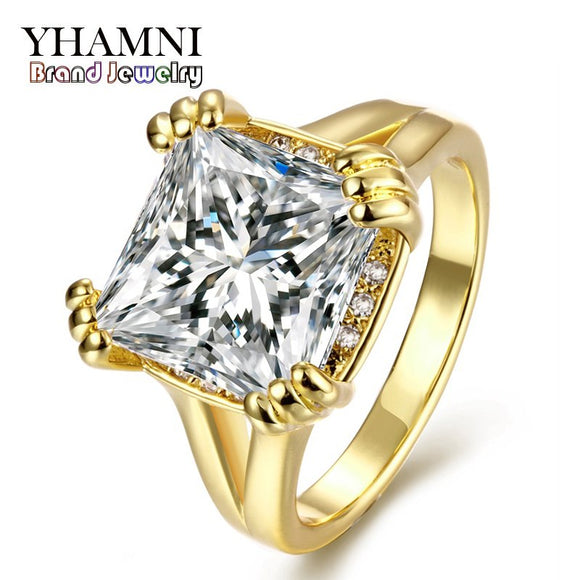 YHAMNI New Arrival Classic 24K Gold Filled Sparkling Cubic Zircon Wedding Rings - Beltran's Enterprise