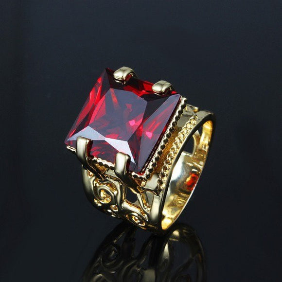 YHAMNI Luxury Jewelry Lovers Engagement Ring With Gold Filled Big Red Crystal CZ Stone - Beltran's Enterprise