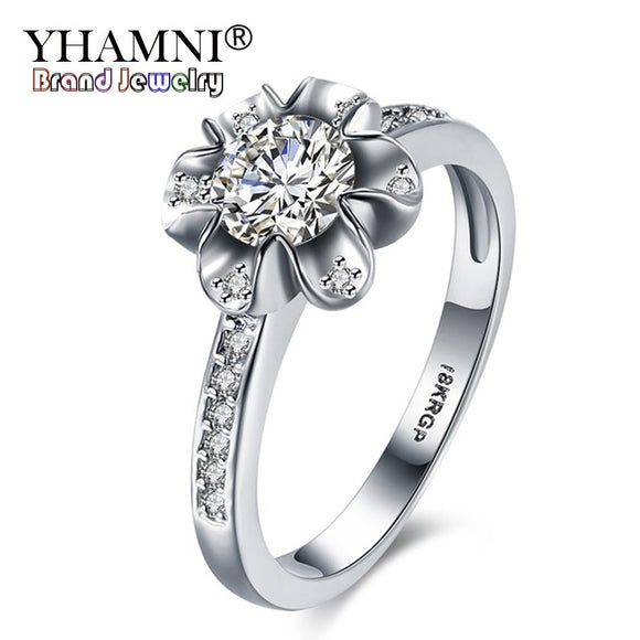 YHAMNI With 18KRGP Stamp Rings Gold Jewelry For Women Set CZ Diamant Flower Ring Gold - Beltran's Enterprise