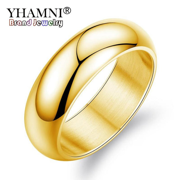 YHAMNI Luxury Couples Jewelry 7mm Wide Stainless Steel Engagement Rings - Beltran's Enterprise