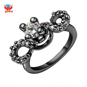YHAMNI Unique Black Gold Filled Fashion Rings For Women Hearts and Arrows 1 Carat - Beltran's Enterprise
