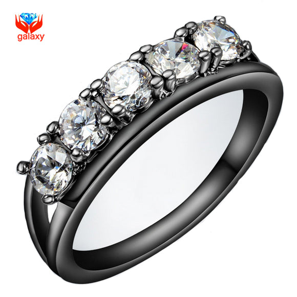 YHAMNI New Fashion Jewelry Ring Black Gold Filled Luxury 5Pcs 1 Carat CZ Diamant - Beltran's Enterprise