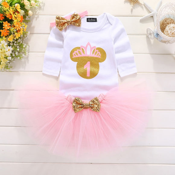 Toddler Clothes Baby Girl Party Dress Baptism Children's Dresses Elegant 1year baby birthday dress - Beltran's Enterprise