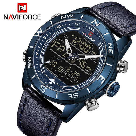 NAVIFORCE Fashion Men Sports Watches Men's Waterproof Quartz Led Clock Man Leather - Beltran's Enterprise
