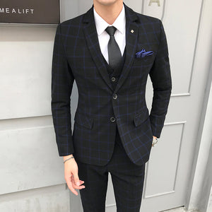 Mens Blazer + Vest + Pants / 2018 New Groom Fashion Boutique Plaid Wedding Dress Suit - Beltran's Enterprise