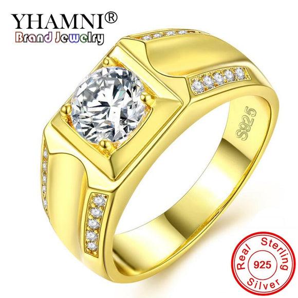 YHAMNI Brand Classic Men Gift Jewelry Real 925 Silver Gold Color Engagement Ring 1 Carat CZ - Beltran's Enterprise