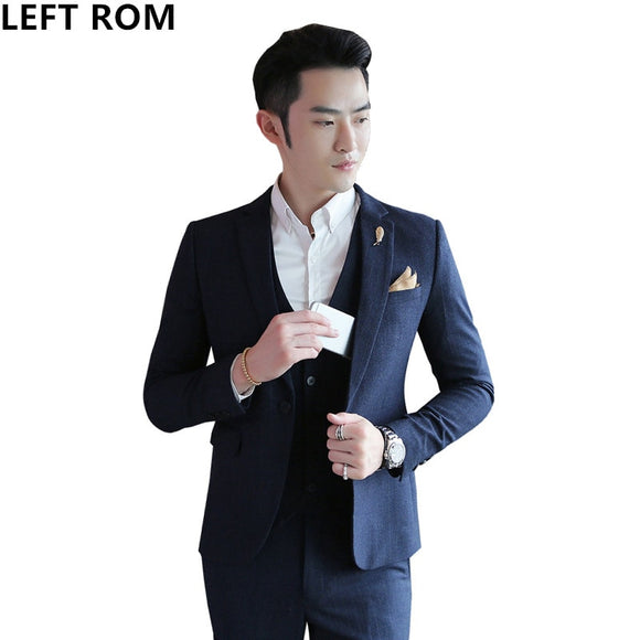 LEFT ROM Male Autumn and winter Striped fabric Man 2018 Slim Business affairs A button - Beltran's Enterprise
