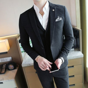 LEFT ROM 2018 Male Autumn and winter Fashion business suit suits man Suit coat+Vest - Beltran's Enterprise