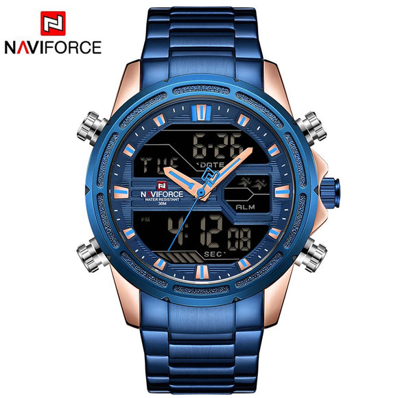 NAVIFORCE 9138 Brand Men Sport Watches Men LED Analog Digital Military Watch - Beltran's Enterprise
