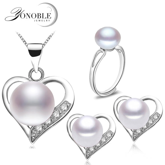 Real bridal freshwater pearl jewelry set 925 silver women,wedding natural pearl sets necklace earring anniversary girl best gift