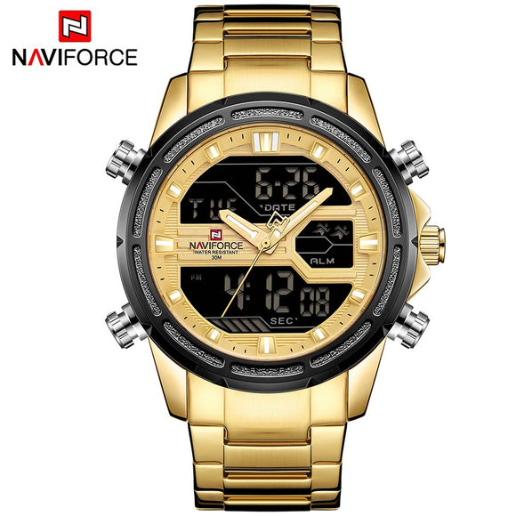 NAVIFORCE Brand New Dual Display Watch Men Sport Quartz LED Watches - Beltran's Enterprise