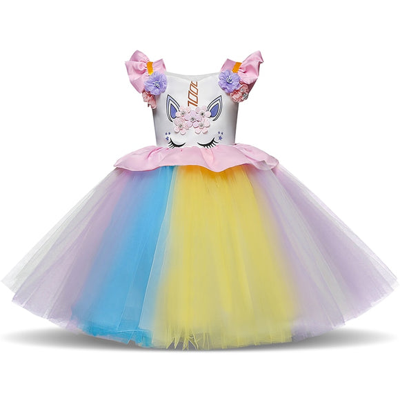 2018 Novelty Girls Clothes 1 Year Birthday Party Dress Unicorn Pattern Tutu Gown Baby Clothing - Beltran's Enterprise