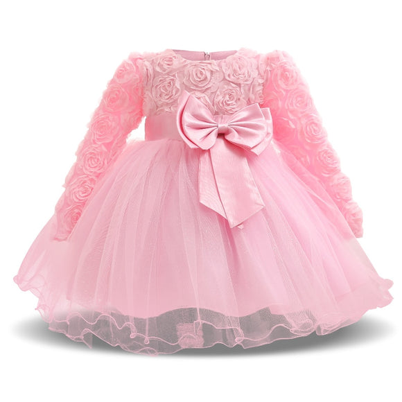 Spring Autumn 0-2 Yrs Baby Clothes Rose Flower Tulle Cute Pink Princess Newborn Baby tutu Dress - Beltran's Enterprise