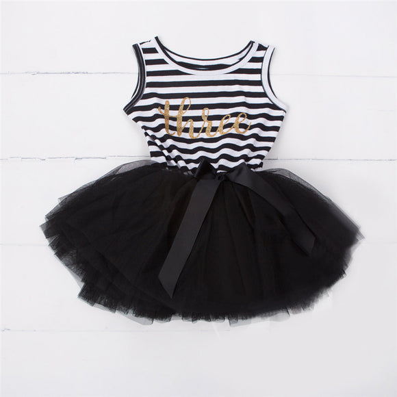 Baby Girls Dress 2018 Spring Girls Dresses Sleeveless Blanck&White Striped Mesh Design Princess - Beltran's Enterprise