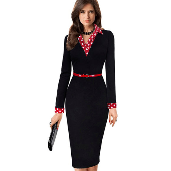 Women Elegant Vintage Autumn Polka Dot Turn Down Collar  Belted Wear To Work Office Casual Long Sleeve Sheath Pencil Dress EB334 - Beltran's Enterprise