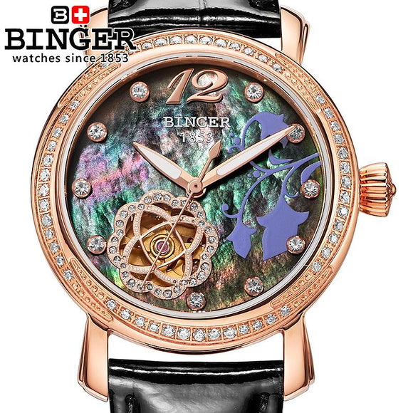 Switzerland Binger Women's watches Luxury Brand clock leather strap automatic self-wind mechanical - Beltran's Enterprise