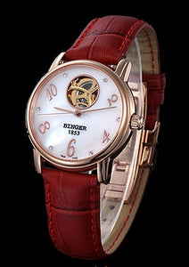 Switzerland Binger Women's watches Skeleton luxury clock leather strap auto Self-wind Tourbillon - Beltran's Enterprise