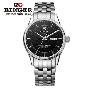 Switzerland Men's Watch Luxury Brand BINGER Luminous Japan MIYOTA Automatic self-wind full stainless - Beltran's Enterprise