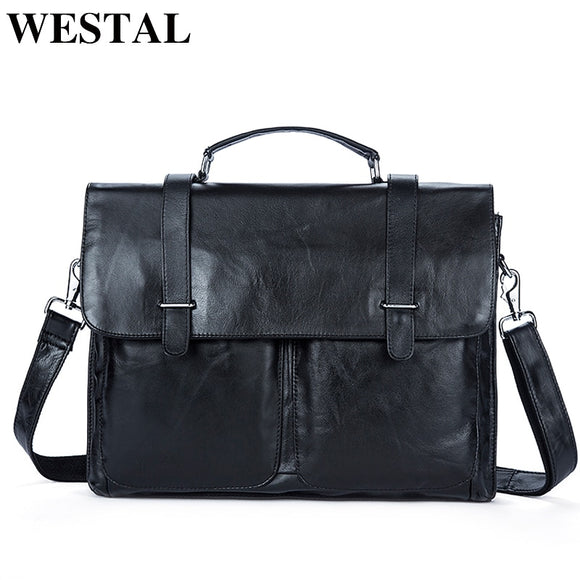 WESTAL Messenger Bag Men's Briefcases Document male bags Genuine Leather - Beltran's Enterprise