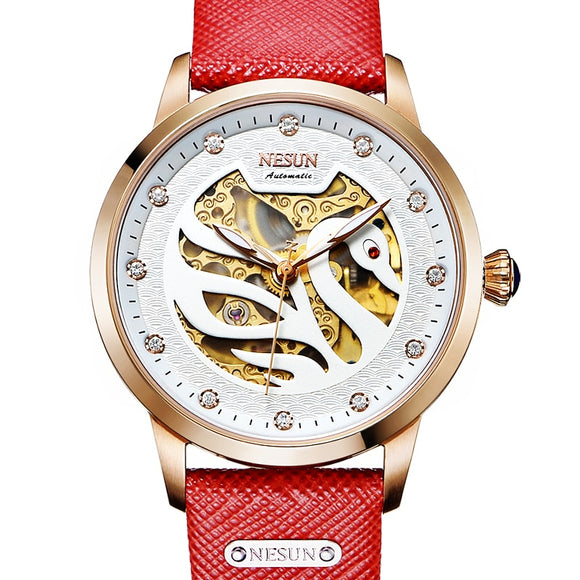 Switzerland Luxury Brand Nesun Women Watch Automatic Self-Wind Genuine Leather Watches - Beltran's Enterprise