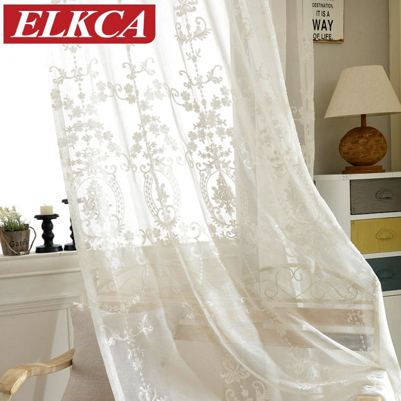 European White Embroidered Voile Curtains Bedroom Sheer Curtains for Living Room - Beltran's Enterprise