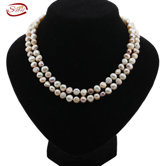 100% Freshwater Pearl Necklace For Women White Natural Pearls Jewelry - Beltran's Enterprise