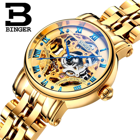 Switzerland luxury Women's watches BINGER brand Double Skeleton Mechanical Wristwatches sapphire - Beltran's Enterprise