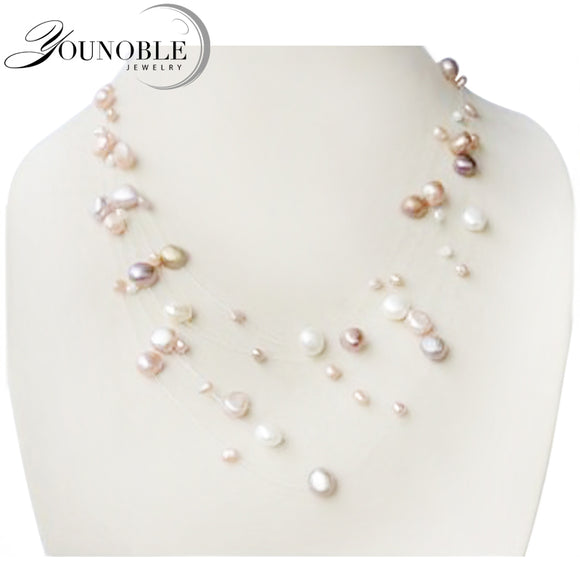 YouNoble Genuine natural pearl necklace,fashion multilayer necklace women wedding - Beltran's Enterprise
