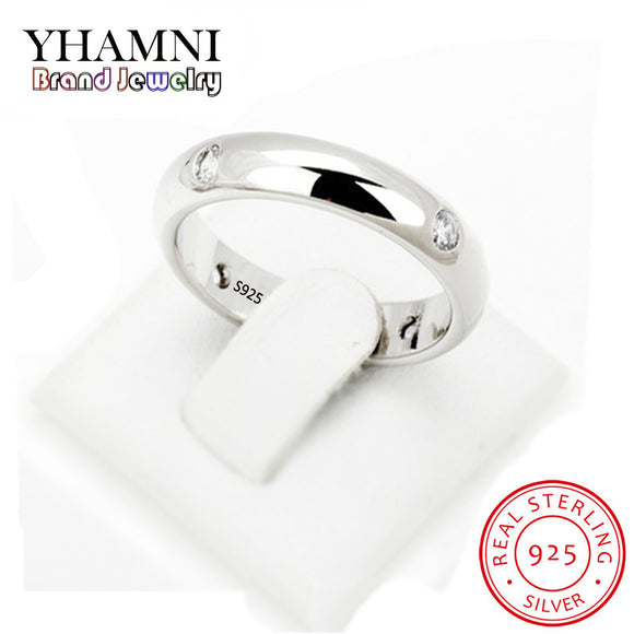 YHAMNI 4mm Women Silver Ring High Polished Wedding Band 925 Sterling Silver Rings - Beltran's Enterprise