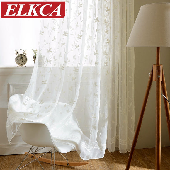 Korean White Embroidered Voile Curtains Linen Feeling White Sheer Curtains - Beltran's Enterprise