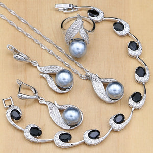 Silver 925 Bridal Jewelry Sets Pearls Beads For Women Wedding Drop Earrings Necklace Ring Natural - Beltran's Enterprise