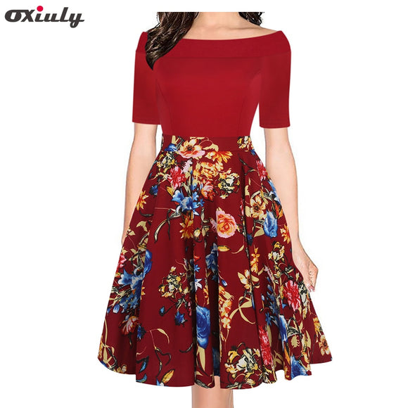Oxiuly Sexy Off Shoulder Slash Neck Office Dress Summer Floral Print Beach Dress Casual Patchwork - Beltran's Enterprise