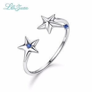 L&Zuan Double Star Sapphire Rings For Women 14K White Gold Natural Gemstone Simple Party Ring - Beltran's Enterprise
