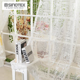 Window Curtain Burnout Tulle Voile Fabric Transparent Sheer Letter Printed Home - Beltran's Enterprise