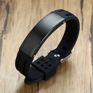 Vnox 16mm Personalize Bracelets for Men Silicone Band with Stainless Steel - Beltran's Enterprise