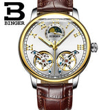 Switzerland Watches Men Luxury Brand BINGER sapphire Waterproof Clock toubillon Stainless Steel - Beltran's Enterprise