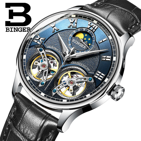 Switzerland Mechanical Men Watches Binger Role Luxury Brand Skeleton Wrist Sapphire Waterproof Watch - Beltran's Enterprise