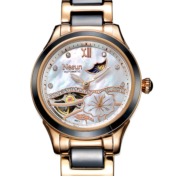New Switzerland Nesun Hollow Tourbillon Women Watch Luxury Brand Clock Automatic Self-Wind Wrist - Beltran's Enterprise