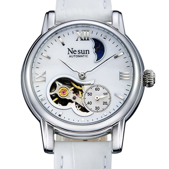 Switzerland New Luxury Brand Nesun Hollow Women Watch Automatic Self-Wind Genuine Leather Clock - Beltran's Enterprise